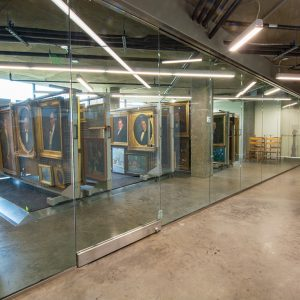 Art visible through glass walls