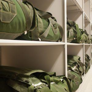 Shelving for parachute storage