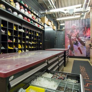 Florida State football equipment storage room