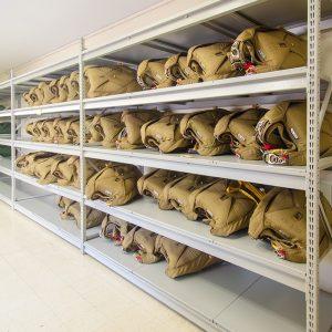 wide-span shelving stores parachutes