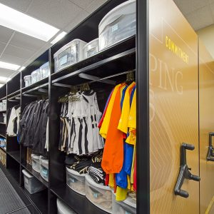 Mobile shelving storing athletic equipment at WFU