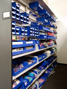 bin shelving used to store retail samples