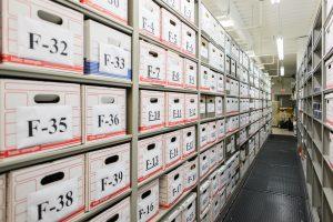 Long term evidence stored on mobile shelving