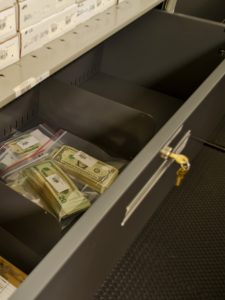 Money evidence stored in lockable drawers