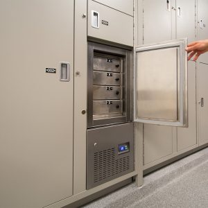Biological evidence stored in refrigerated locker
