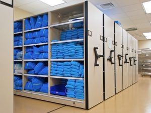 sterile supplies stored on mobile shelving