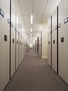 high-density mobile shelving stores law library media