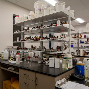 Solid work surface for laboratories