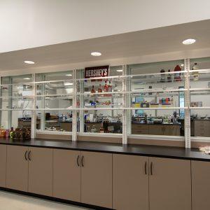display shelving and glass walls make lab visually appealing
