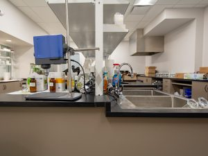 Laboratory uses shelving integrated in cabinets for effective storage