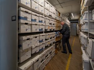 County archive material stored on shelving