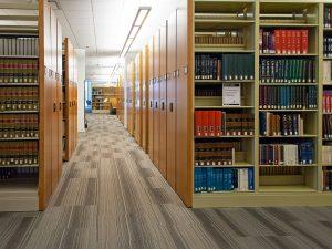 Mobile shelving system serves library