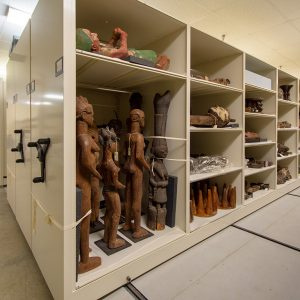 Museum archives stored on compact shelving
