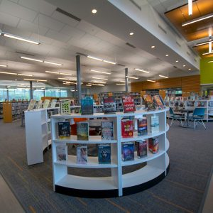 Curvilinear shelving in Public Library setting