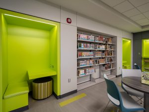 Alcove Shelving and Seating in Library