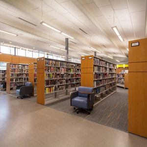 Library storage on cantilever shelving