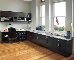 Organized office storage with modular casework