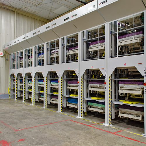 High-density storage for hospital beds