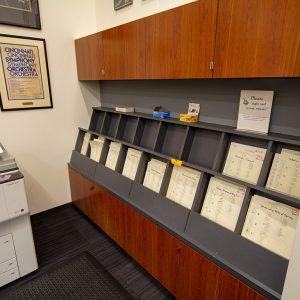 Modular Casework used to organize sheet music