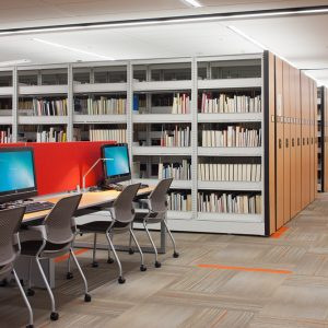 Mobile shelving makes room for study space in library