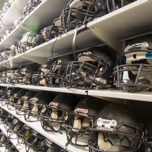 Shelving for Football Helmet Storage