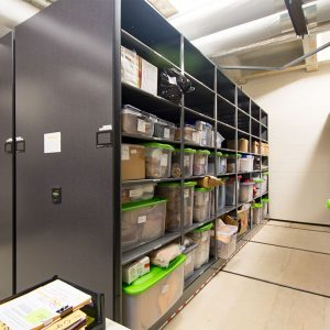 Powered High-Density Mobile Shelving stores evidence