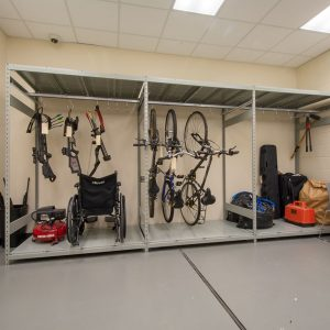 Shelving to store bikes and other evidence