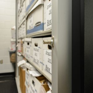 Evidence stored in lockable shelving system