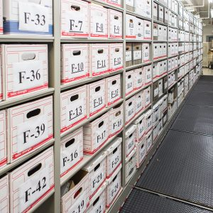 Boxed evidence stored on shelving