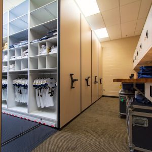 Mobile shelving system for football team uniforms