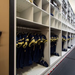 Jerseys for College Football Team in Compact Shelving