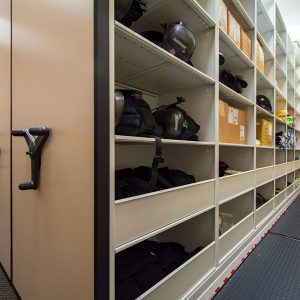 Bulk items stored in mobile shelving