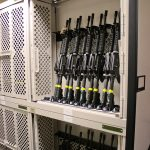 Weapons Stored and Secured on Mobile Shelving