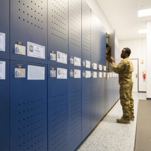 Secure lockers for military gear