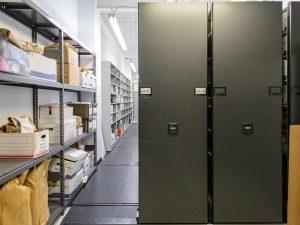 Evidence stored in High-Density Mobile Shelving