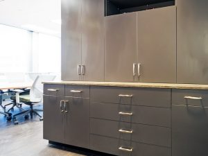 Laminate cabinets create storage options for teachers