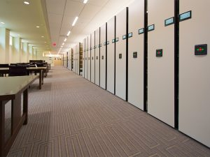 Mobile shelving in law library