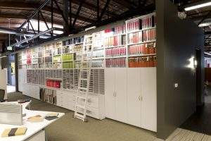 Architecture samples stored in modular casework