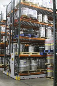 Kegs stored in beer distribution center