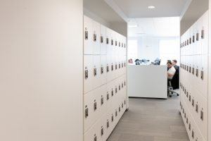Offices use lockers for employee items
