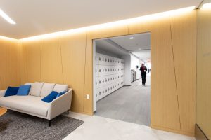 Day-use lockers in office alcove