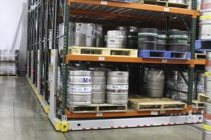 Kegs stored in High-Density shelving
