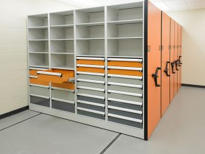 High-density shelving and drawers for evidence storage