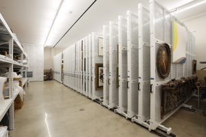 Save museum floor space with mobile art racks