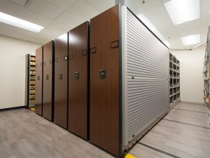 Shelving with tambour doors protects confidential files