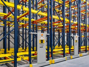 Powered industrial mobile shelving