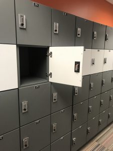 Steel lockers with soft-close doors