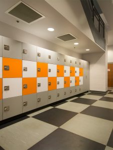 Organized storage for campus fitness centers