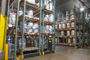 Kegs stored in warehouse