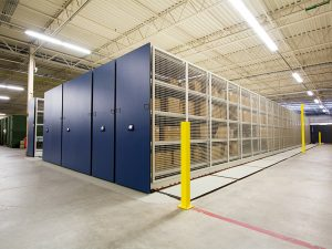 Supplies stored in mobile shelving system on Air Force base